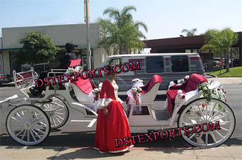 Decorated Wedding Horse Drawn Carriages