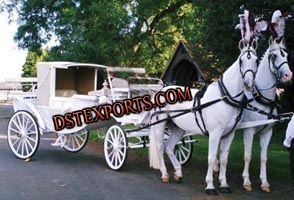 White Double Horse Carriage For Wedding