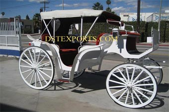 White Victoria Horse Drawn Carriages