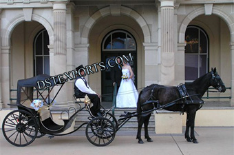 New Black Two Seater Horse Carriages