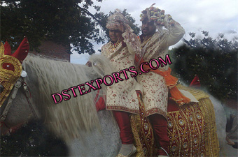 Wedding Red Embriodery Horse Costume