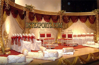 Asian Shadi Golden New Carved Stages
