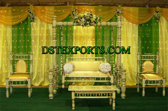 Asians Wedding Mehandi Stage With Sankheda Swing