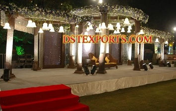 Wedding light Crystal Mandap With Crystal Backdrop