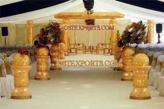 Wedding Gold Crystal Mandap With Aisle Pillar