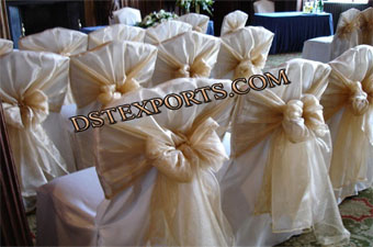 Wedding Chair Covers With Golden Tie Backs