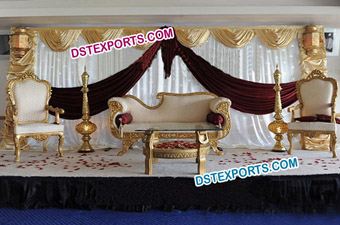 New Asian Wedding Golden Furniture Stage