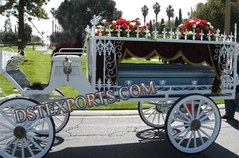Funeral Horse Drawn White Carriage