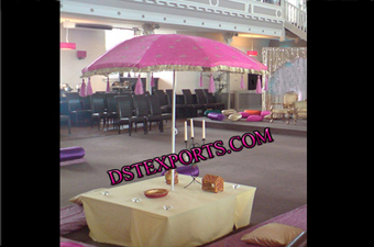 Wedding Mehndi Stage With Pink Umberella