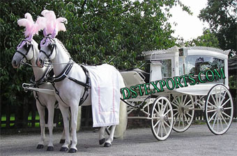 Wedding White  Funeral Double horse Carriage