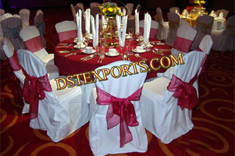 Wedding Red Tissue Sasha With White Chair Cover