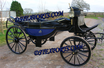 Royal Blue Landua Horse Carriage