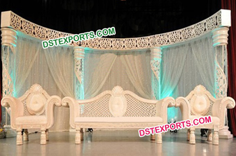 Asian Wedding White Carved Fiber Stage