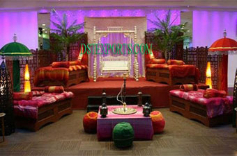 Punjabi Wedding Mehndi Stage With Swing