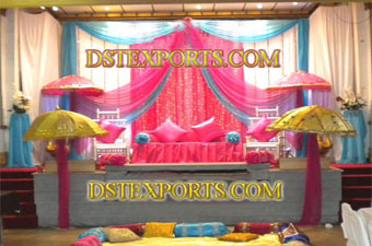 Asian Wedding Colourful Mehndi Stage Set