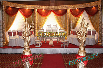 Asian Wedding Latest Golden Carved Stage Set