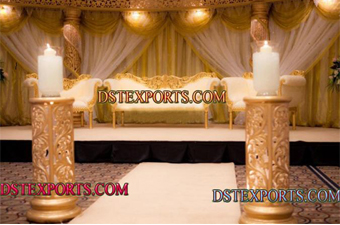 Asian Wedding Golden Decor Stage Set