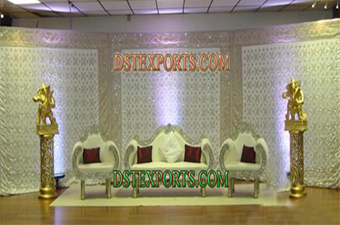 Latest Asian Wedding Silver Stage with Furniture