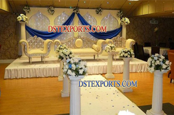 New Asian Wedding Silver Carved Furniture Stage