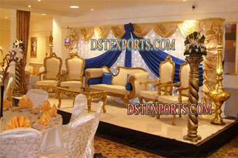 Asian  Wedding Gold Stage Set With Furniture
