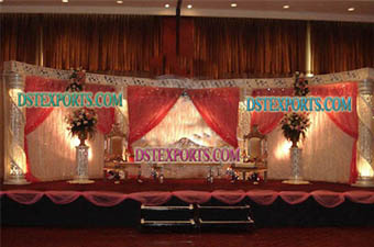 Asian Wedding Crystal Jali Pillars Stage