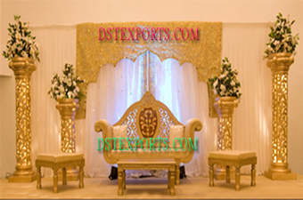 Asian Wedding Gold Decorated Stage With Pillars