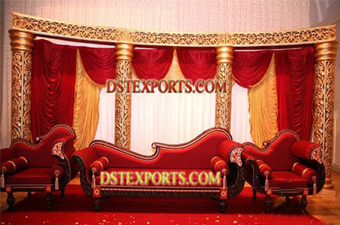 Asian Wedding Half Moon Golden Fiber Stage Set