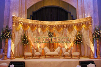 Latest Asian Wedding Golden Lighted Crystal Stage