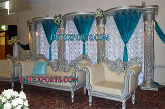 Wedding Reception Stage With Silver Furniture