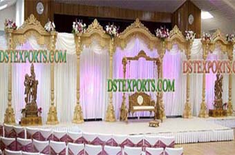 Traditional Hindu Wedding Wooden Pillars Stage Set