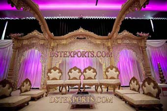 Beautiful Wedding Wooden Carved Stage