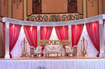 Latest Asian Wedding Stage With Backdrop curtains