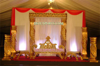 New Wedding Crystal Gold Pillars Stage With backdr