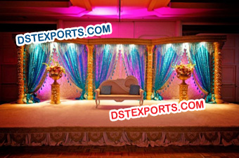 Hindu Wedding Golden Fiber Pillars Stage Set