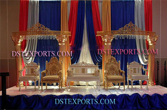 Wedding Sona Chandi Stage With golden fiber panels