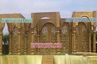 Latest Rajwada Wedding Golden Fiber Stage Set
