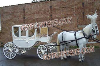 Royal Wedding White Covered Double Horse Carriage