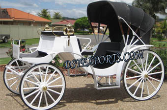 White Victoria Horse Carriage With Black Hood