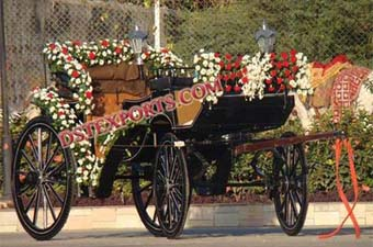 Beautiful Decorated Black Victoria Horse Carriage