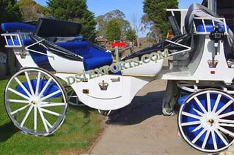 Wedding White Blue Victoria Horse Carriage