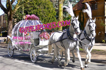 Beautiful Double Horse Cinderella Carriage