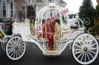 Wedding White Horse Drawn Cinderella Carriage