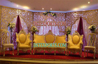 Asian Wedding  Beautiful Stage Set With Backdrops