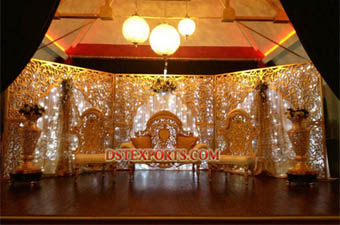 Wedding Walima Gold Carving Stage Set