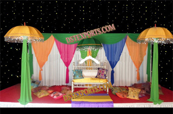 Colourful Mehndi Stage Set With Umbrellas