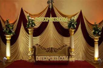 Wedding Royal Gold Stage Set With Backdrops