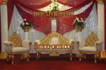 Wedding Decorated Golden Stage With Furniture