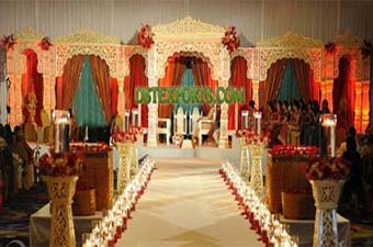 Asian Shadi Golden Fiber Carved Stage