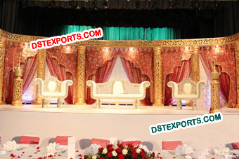 Muslim Wedding Golden Carved Pillar Stage
