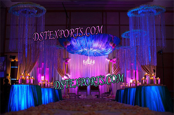 Modern Wedding Hanging Crystal Pillars